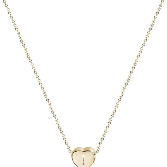 Tiny Gold I Initial Heart Necklace-14K Gold